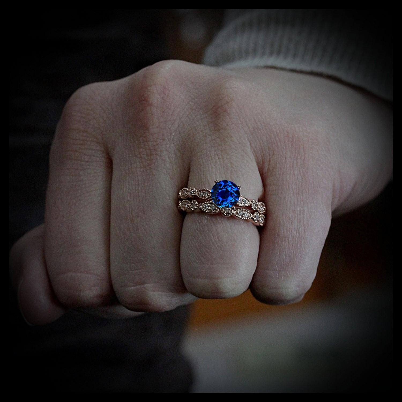 2 00 carat Round Cut Sapphire and Diamond Halo Bridal Set in 10k