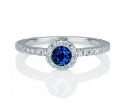 1.50 carat Round Cut Sapphire and Diamond Halo Engagement Ring in 10k White Gold