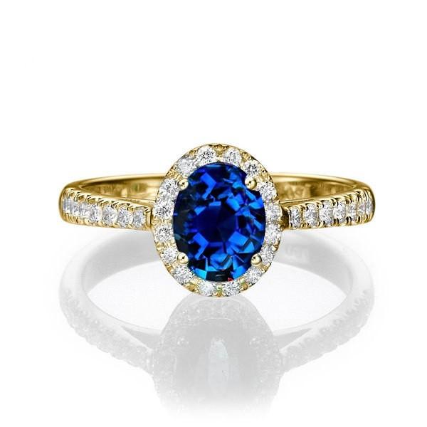1 50 Carat Oval Cut Sapphire And Diamond Halo Engagement