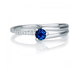 1.25 carat Round Cut Sapphire and Diamond Engagement Ring in 10k White Gold