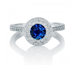 1.25 carat Round Cut Sapphire and Diamond Halo Engagement Ring in 10k White Gold