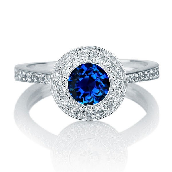 1 25 Carat Round Cut Sapphire And Diamond Halo Engagement