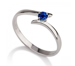 .50 carat Round Cut Sapphire  Solitaire Engagement Ring in 10k White Gold