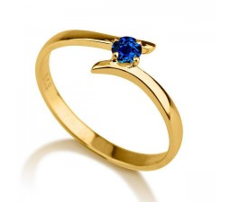 .50 carat Round Cut Sapphire  Solitaire Engagement Ring in 10k Yellow Gold
