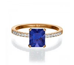 1.50 carat Emerald Cut Sapphire  Engagement Ring in 10k Rose Gold