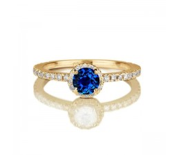 1.50 carat Round Cut Sapphire and Diamond Halo Engagement Ring in 10k Yellow Gold