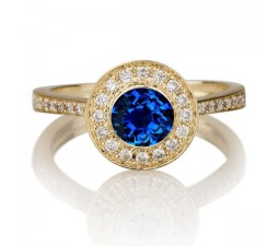 1.25 carat Round Cut Sapphire and Diamond Halo Engagement Ring in 10k Yellow Gold