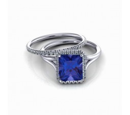 2.00 carat Emerald Cut Sapphire and Diamond Halo Bridal Set in 10k White Gold