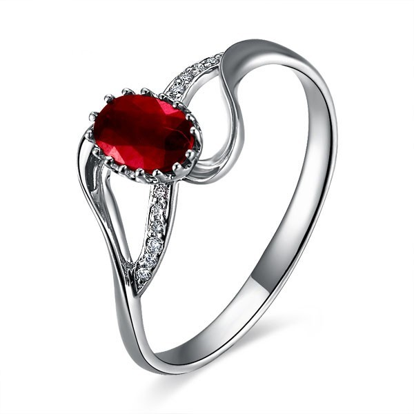 ruby and engagement ring on 18k white gold