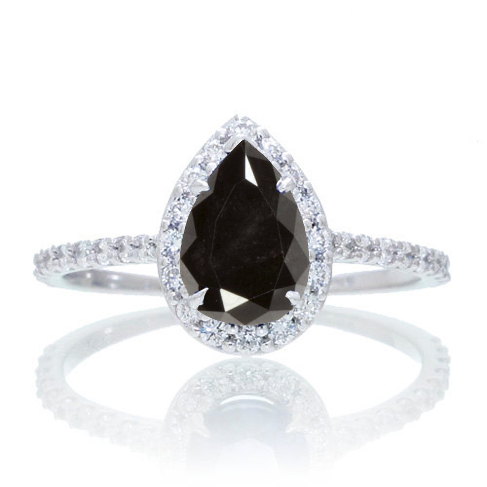 1.5 Carat Classic Pear Cut Black Diamond With Diamond Celebrity Engagement  Ring on 10k White Gold.