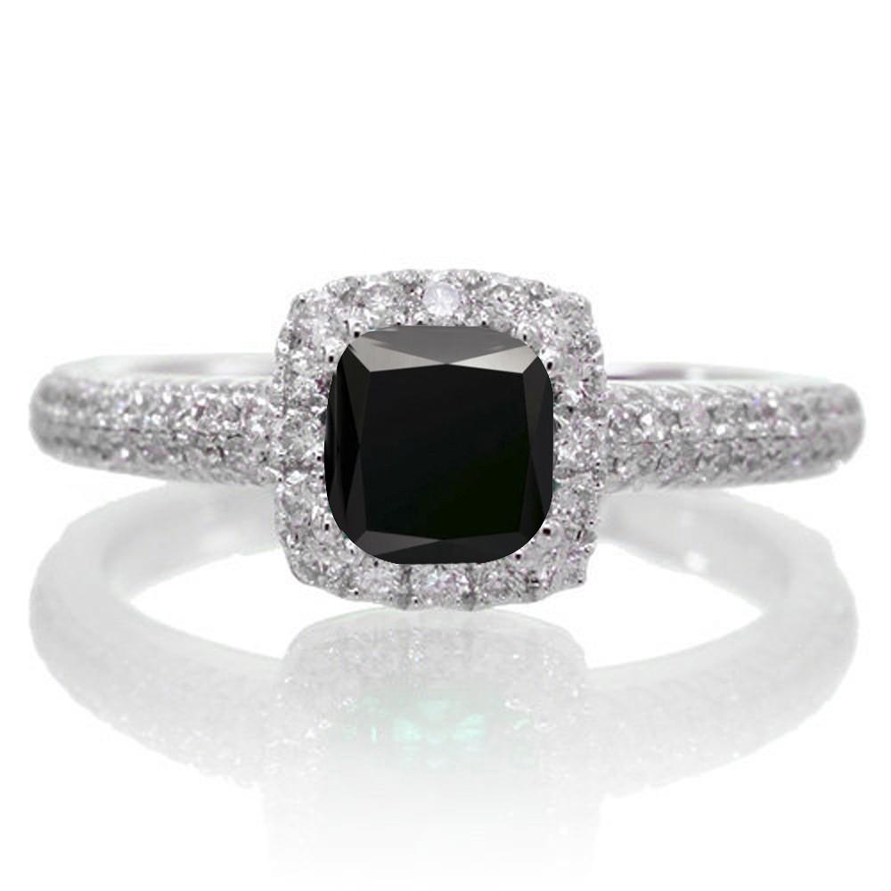 2 Carat Vintage Halo Black Diamond and Diamond Engagement Ring on 10k White  Gold.