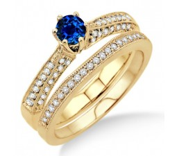2 Carat Sapphire and Diamond Antique Bridal Set Engagement Ring on 10k Yellow Gold