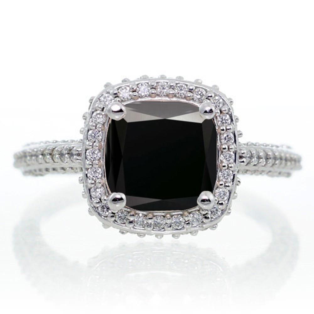 1 5 Carat Cushion Cut Designer Black Diamond and Diamond Halo Engagement Ring