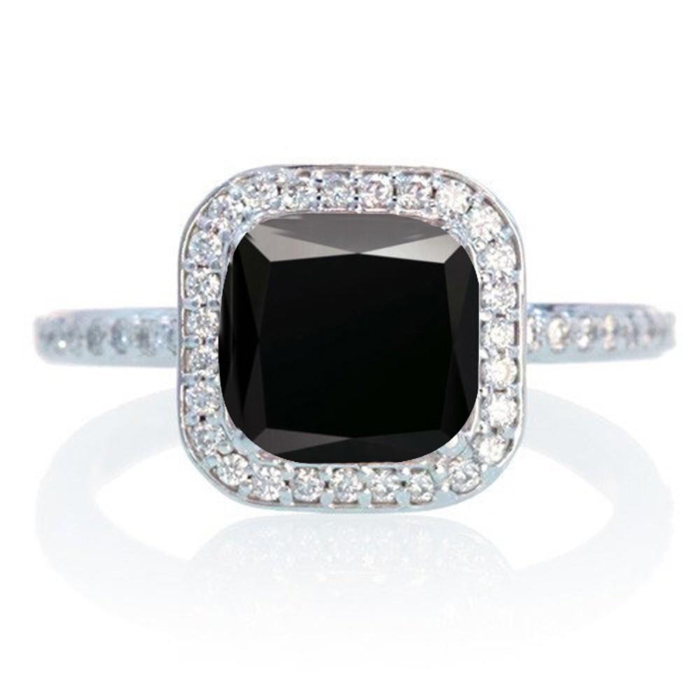 1 5 Carat Cushion Cut Classic Black Diamond And Diamond
