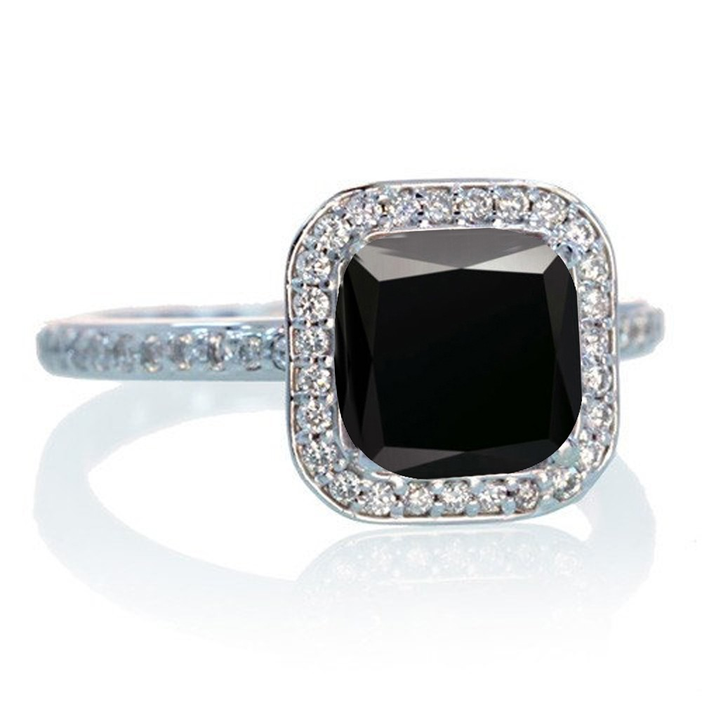 1 5 Carat Cushion Cut Classic Black Diamond and diamond Halo Multistone Engag
