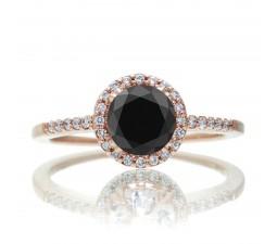 1.5 Carat Round Classic Black Diamond and Diamond Vintage Engagement Ring on 10k Rose Gold
