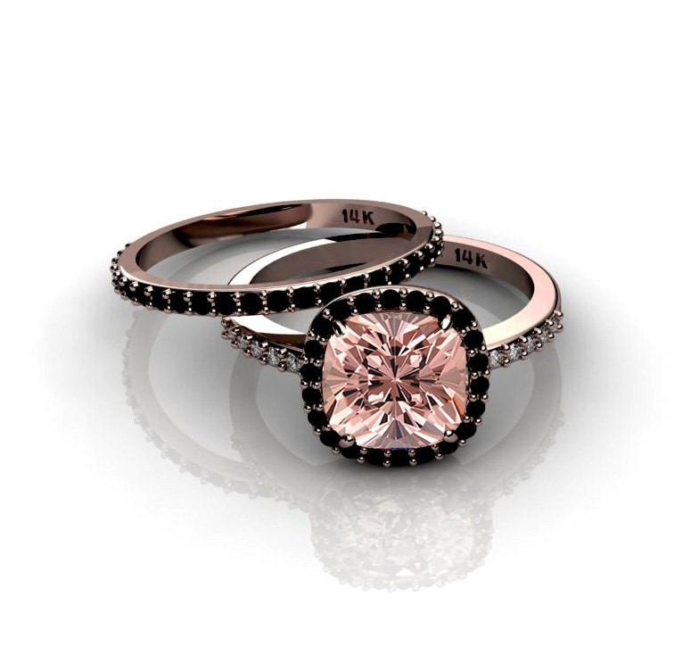 200 carat morganite and black diamond halo bridal set in 10k rose gold - Black Diamond Wedding Ring Set