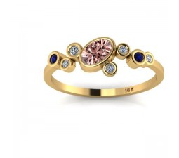 1.25 Carat Sapphire and White Diamond Gemstone Ring in 10k Yellow Gold