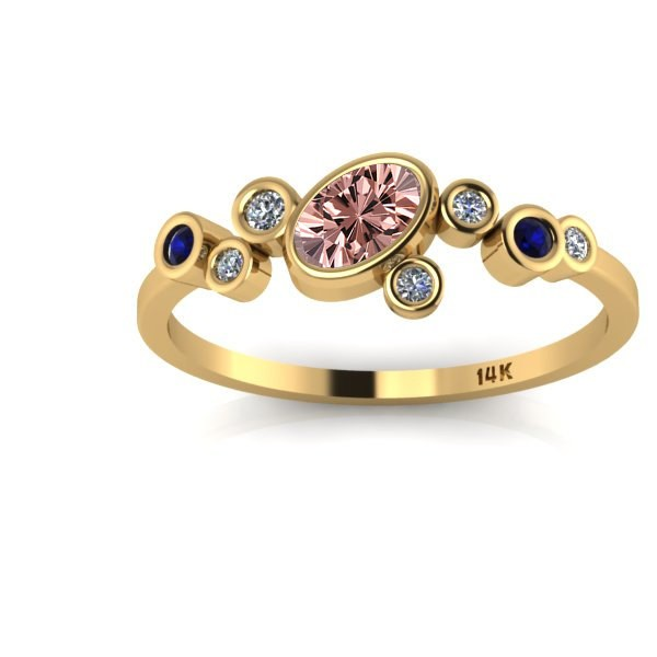 1 25 Carat Sapphire and White Diamond Gemstone Ring in 10k Yellow Gold Jeen