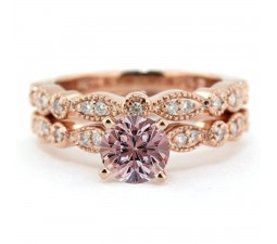 2.00 carat Round Cut Morganite and Diamond Halo Bridal Set in 10k Rose Gold