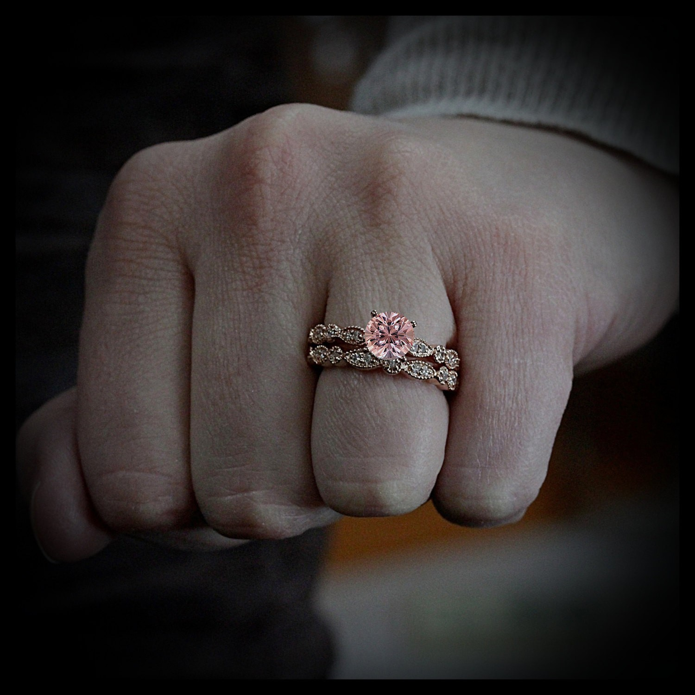 2 00 carat Round Cut Morganite and Diamond Halo Bridal Set in 10k