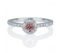 1.50 carat Round Cut Morganite and Diamond Halo Engagement Ring in 10k White Gold