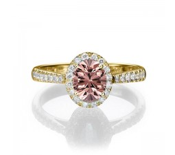 1.50 carat Oval Cut Morganite and Diamond Halo Engagement Ring in 10k Yellow Gold