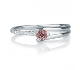 1.25 carat Round Cut Morganite and Diamond Engagement Ring in 10k White Gold