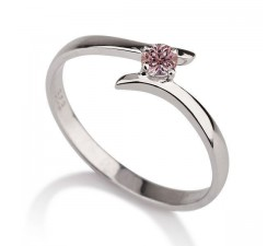 .50 carat Round Cut Morganite  Solitaire Engagement Ring in 10k White Gold
