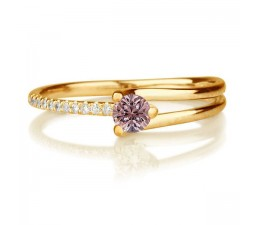 1.25 carat Round Cut Morganite and Diamond Engagement Ring in 10k Yellow Gold