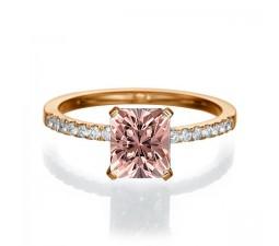 1.50 carat Emerald Cut Morganite  Engagement Ring in 10k Rose Gold