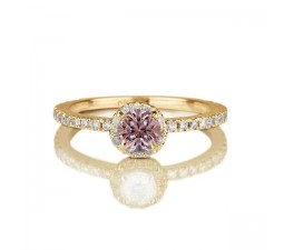 1.50 carat Round Cut Morganite and Diamond Halo Engagement Ring in 10k Yellow Gold