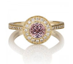 1.25 carat Round Cut Morganite and Diamond Halo Engagement Ring in 10k Yellow Gold