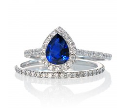 2 Carat Pear Cut Sapphire Halo Bridal Set for Woman on 10k White Gold