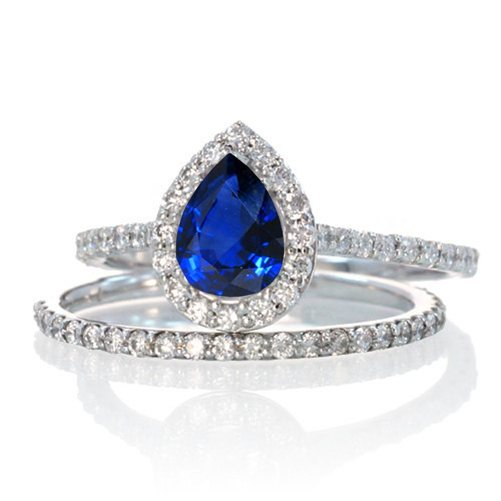 2 Carat Pear Cut Sapphire Halo Bridal Set For Woman On 10k