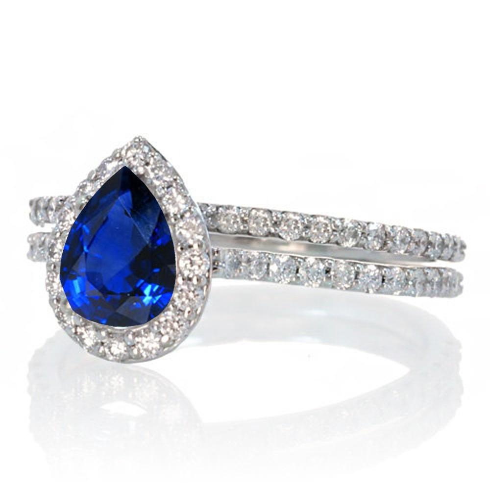 2 Carat Pear Cut Sapphire Halo Bridal Set For Woman On 10k