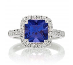 1.5 Carat Cushion Cut Sapphire Halo Engagement Ring for Women on 10k White Gold