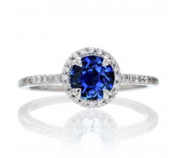 1.5 Carat Round Cut Sapphire Halo Classic Diamond Engagement Ring on 10k White Gold
