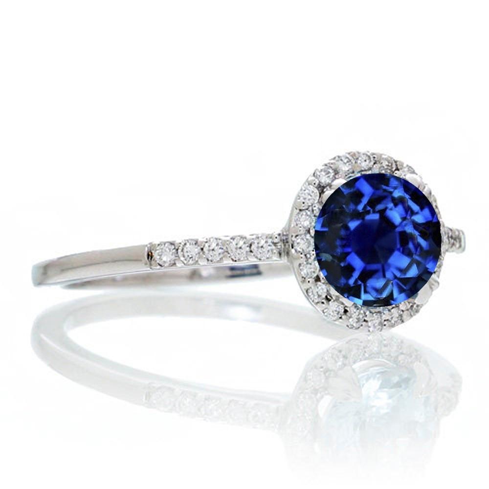 1 5 Carat Round Cut Sapphire Halo Classic Diamond