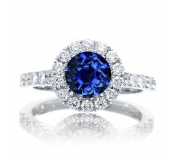 1.5 Carat Round Classic Halo Sapphire and Diamond Engagment ring on 10k White Gold