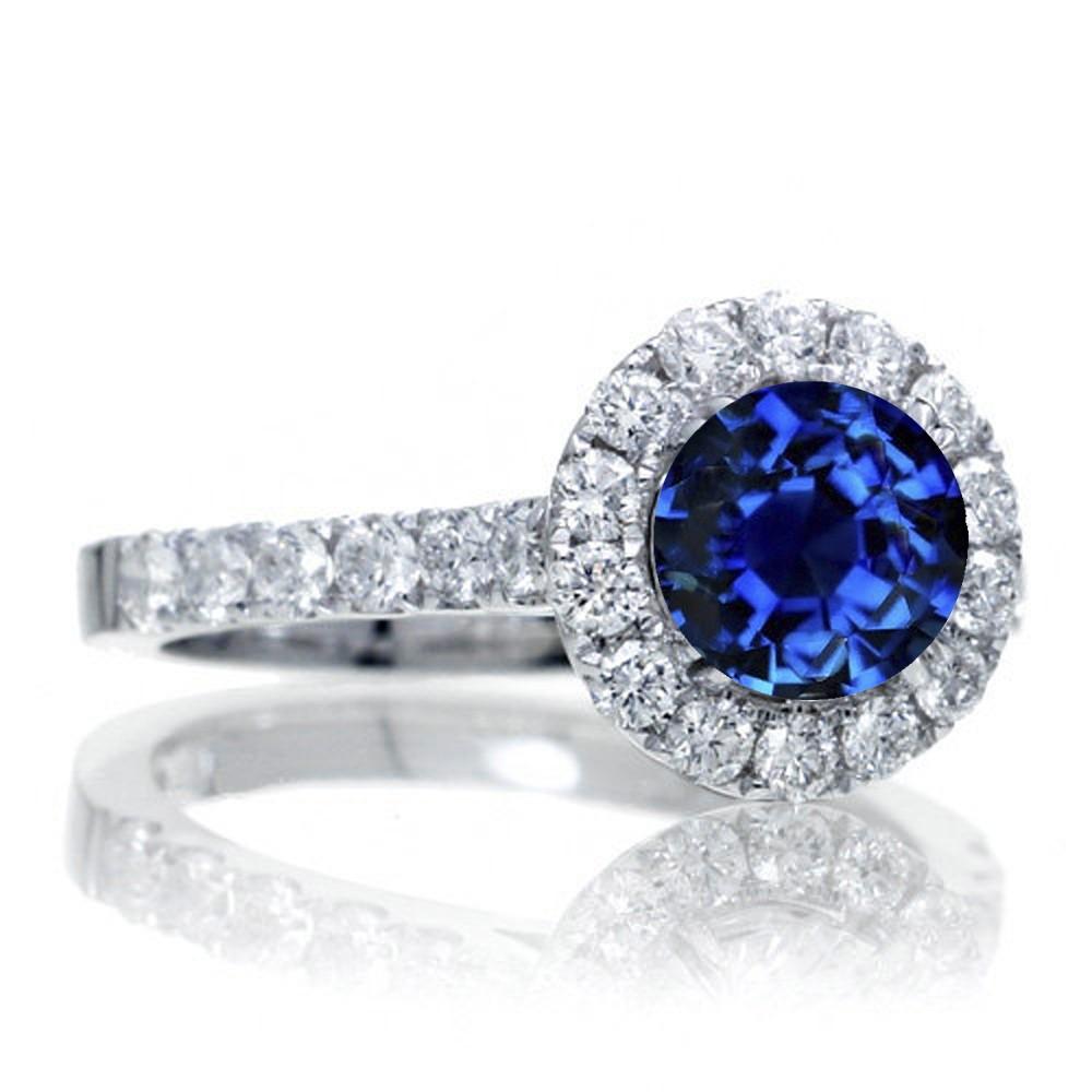 1 5 Carat Round Classic Halo Sapphire And Diamond