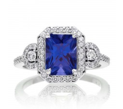 3 Carat Emerald Cut Sapphire and White Diamond Halo Engagement Ring on 10k White Gold