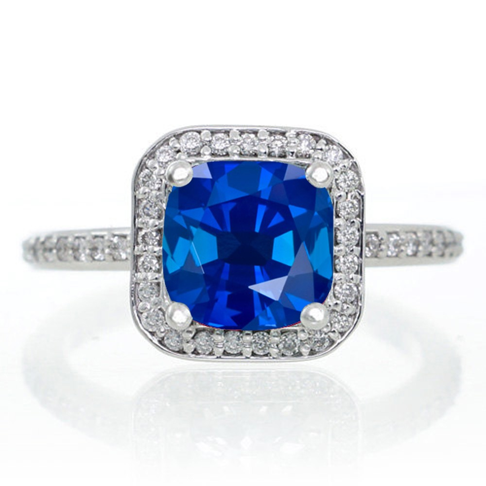 Princess Cut Blue Sapphire Engagement Rings