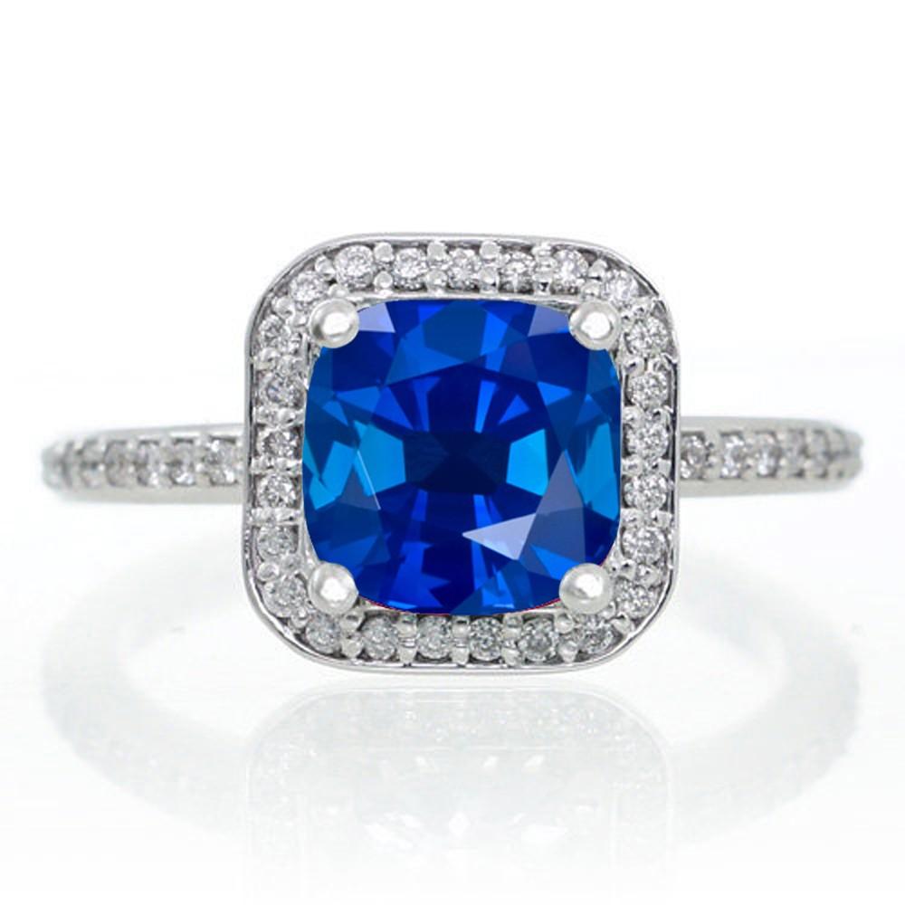 Princess Cut Blue Sapphire Engagement Rings