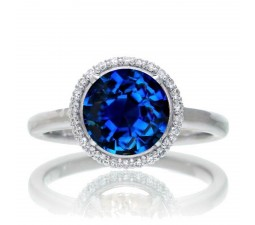 1.25 Carat Round Cut Classic Halo Sapphire and Diamond Engagement Ring on 10k White Gold