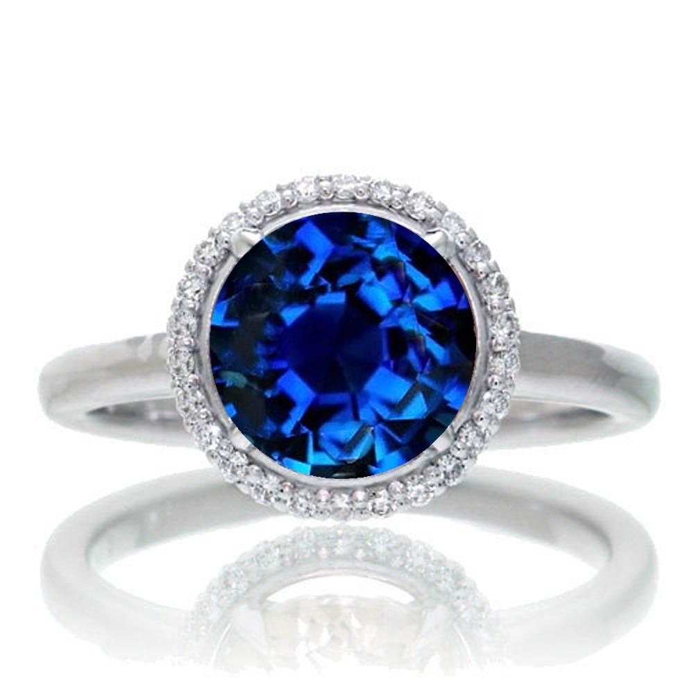 1 25 Carat Round Cut Classic Halo Sapphire And Diamond