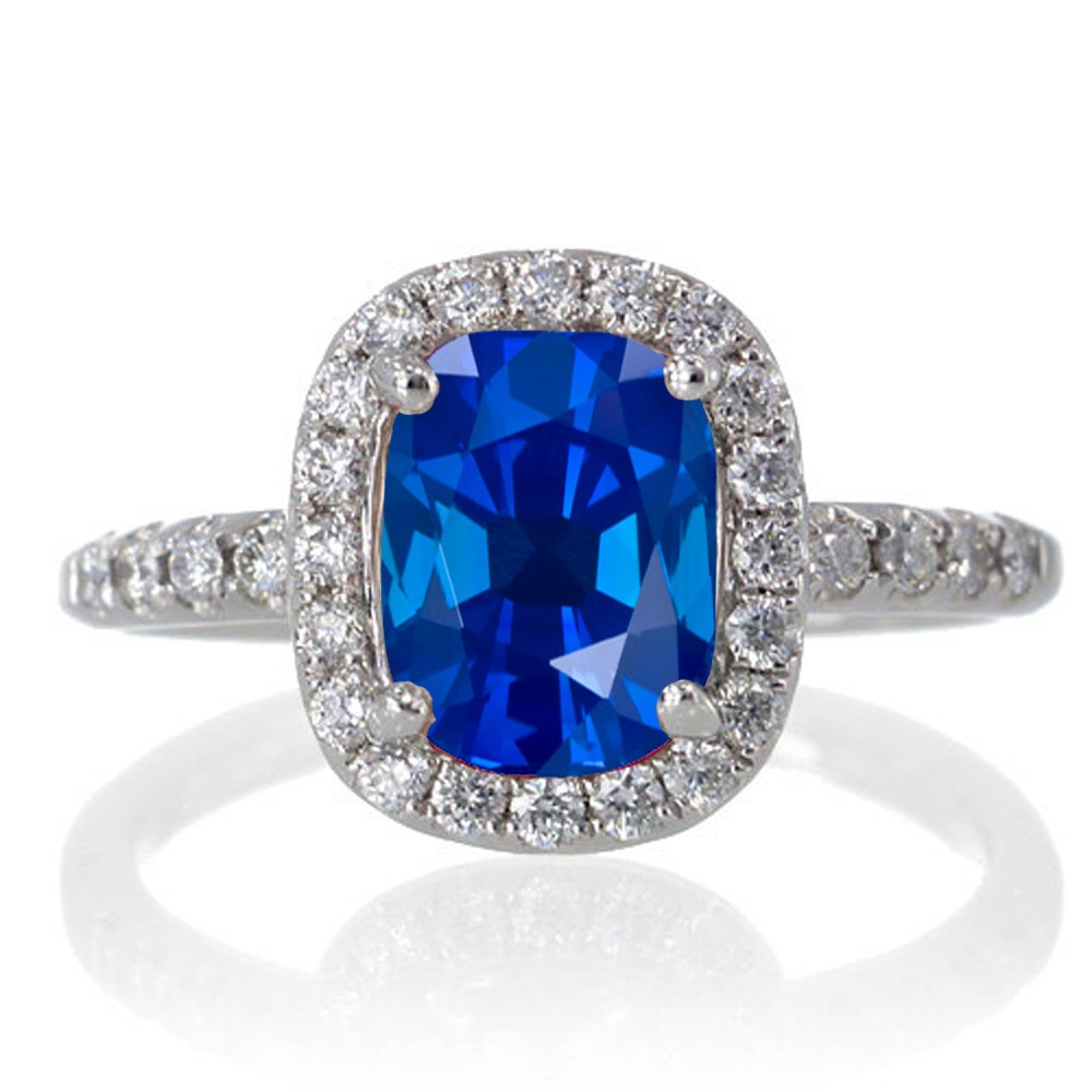 1 5 Carat Cushion Cut Sapphire Antique Diamond Engagement Ring on 10k White G