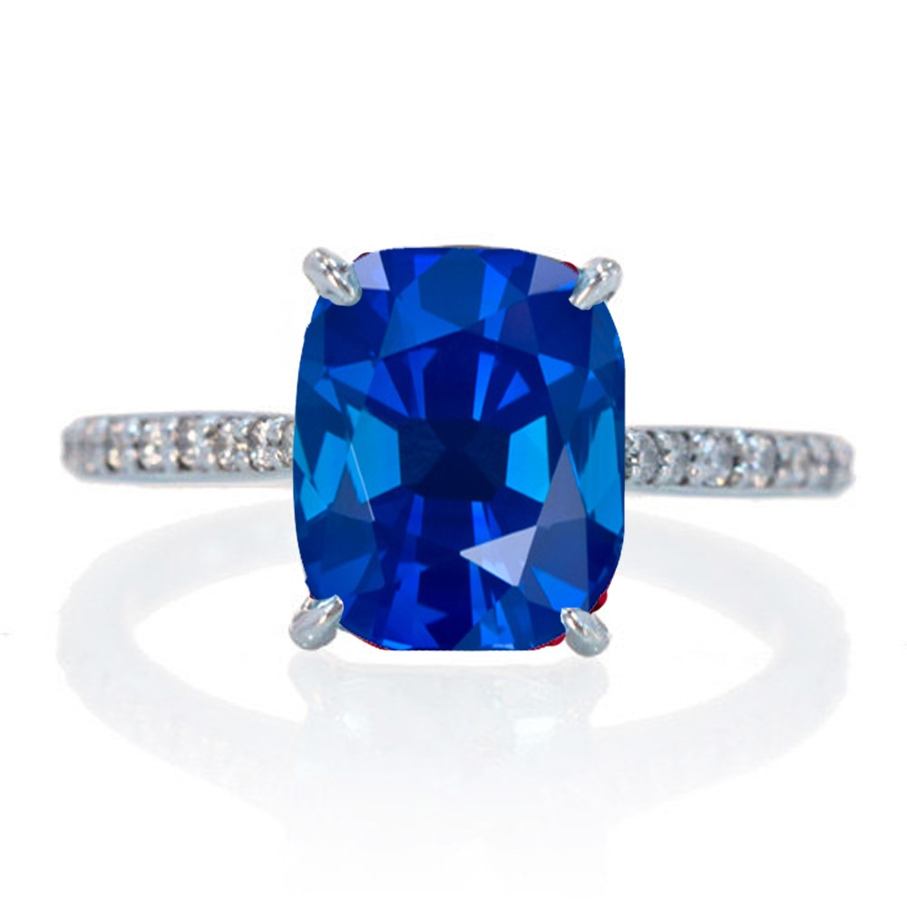 three ring hamilton platinum cut in cushion stone sapphire