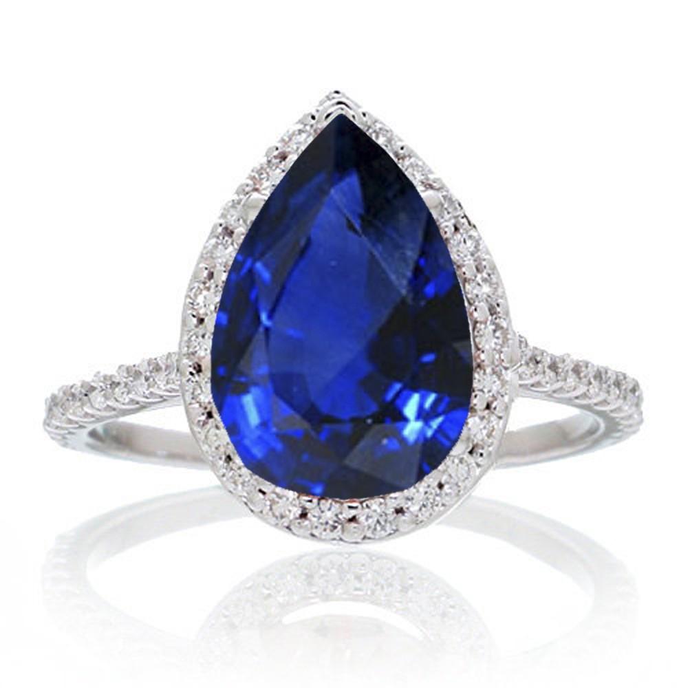 2 5 Carat Pear Cut Sapphire Halo Desiger Engagement For