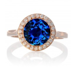 1.25 Carat Round Halo Classic Diamond and Sapphire Engagement Ring on 10 Rose Gold
